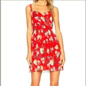 Flattering red floral sweetheart dress with boning